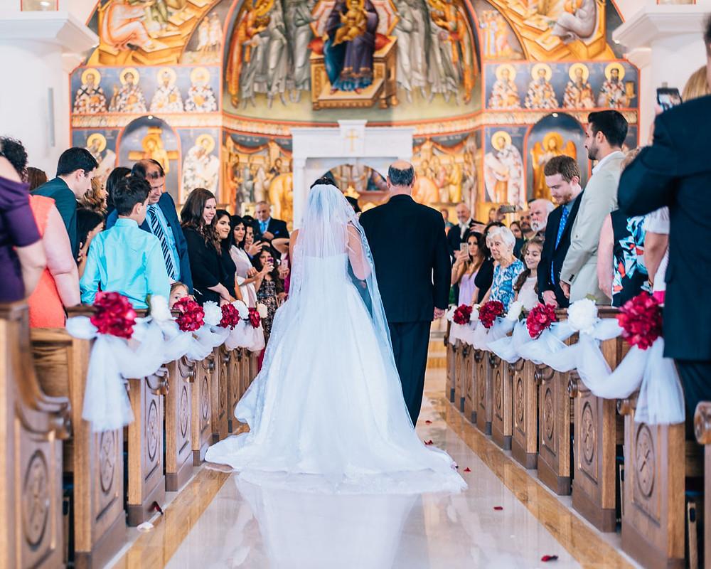 bride down the aisle saint mary antiochian church