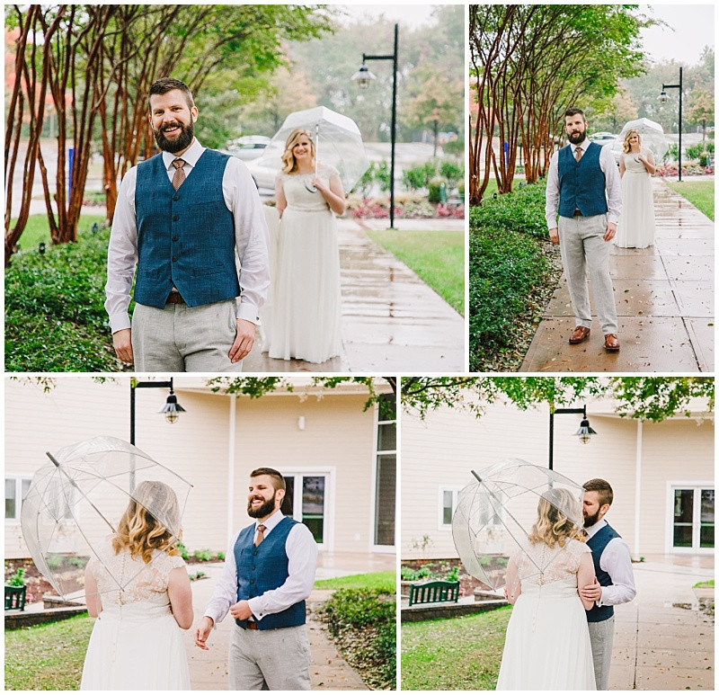 Rainy Wedding Day First Look Inspiration