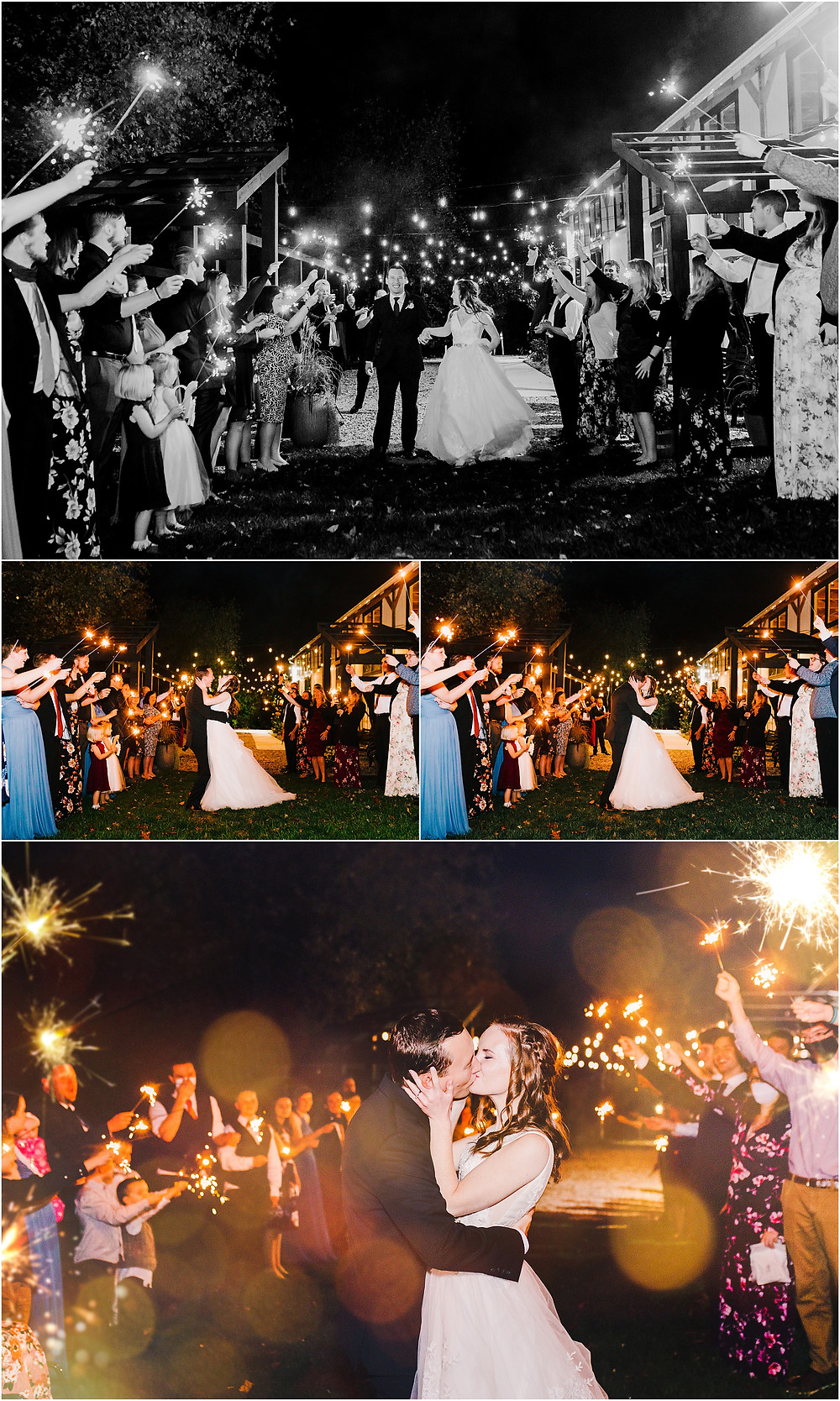 sparkler exit at the tannery barn. Maryland Wedding photographer