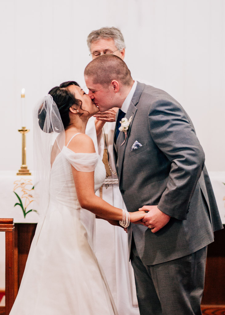 Baltimore Wedding - St. Matthew Lutheran Church Wedding - First Kiss