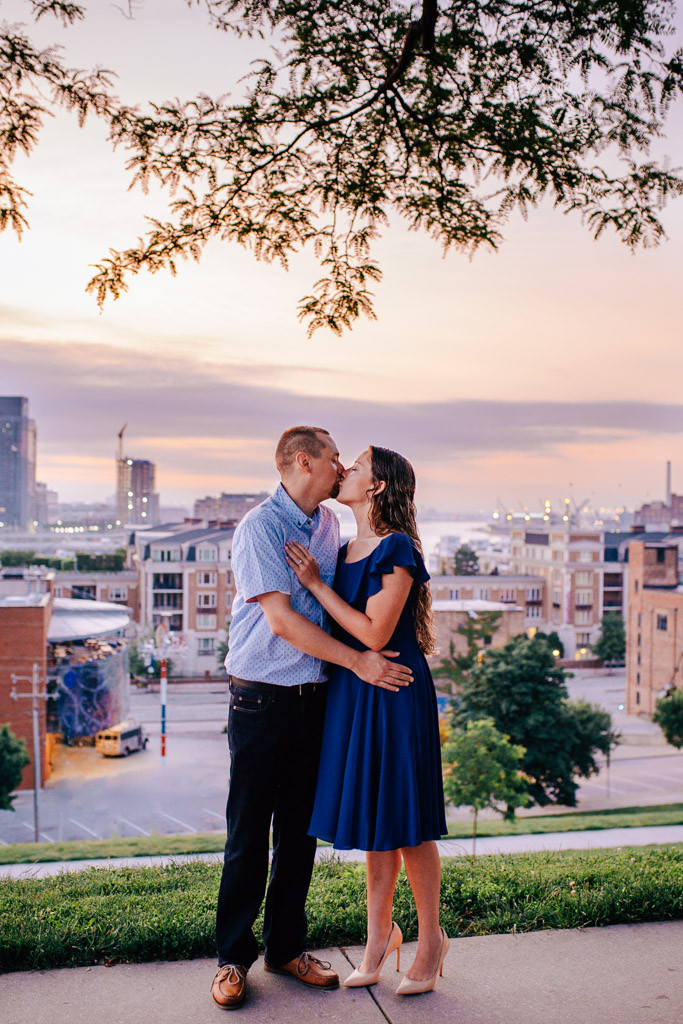Sharing a Kiss - Federal Hill Sunrise engagement portraits - Baltimore Maryland Wedding Photography