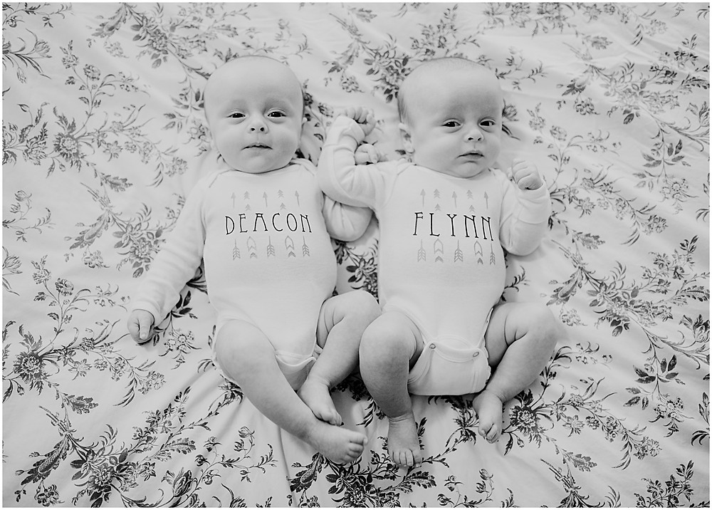 Twin baby boys relaxing - Annapolis lifestyle newborn photography - Annapolis Photographer