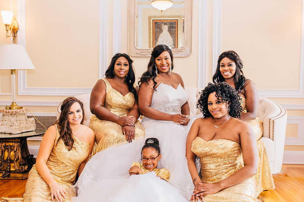 Bride with her Maids - Gold Sequin dresses