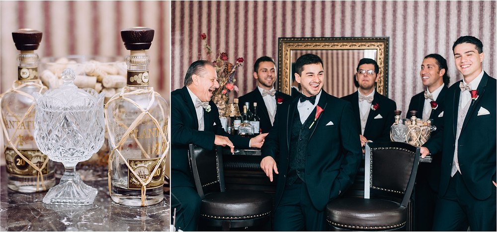 Groom and groomsmen at a bar with rum
