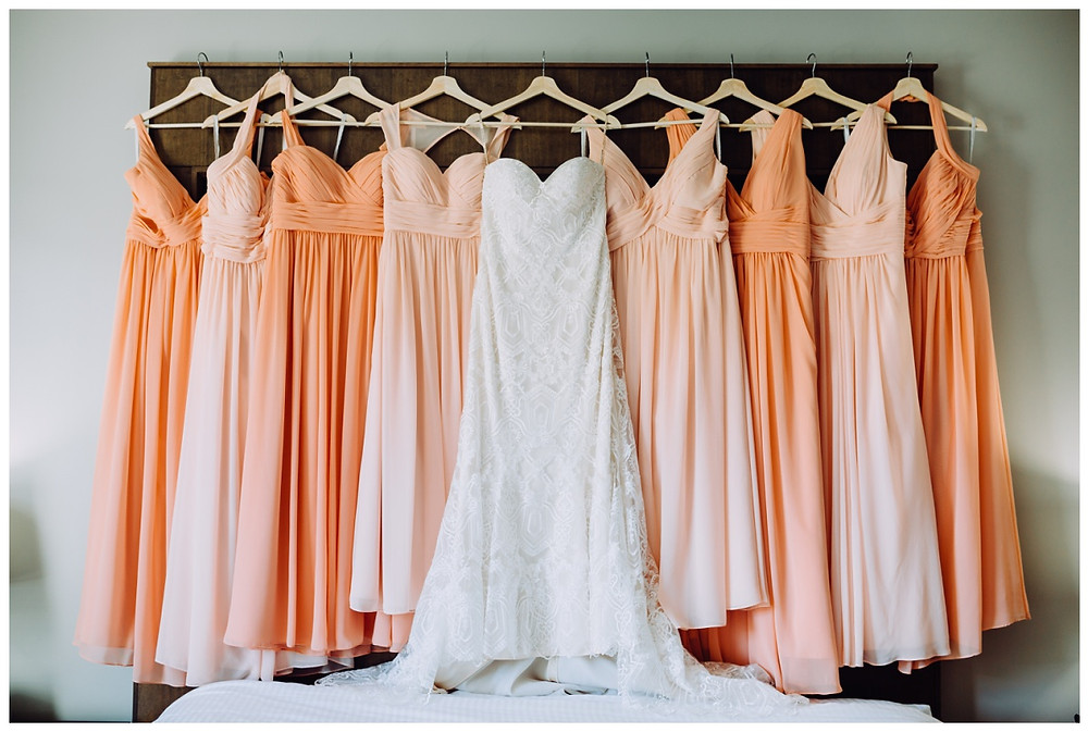 Peaches and Cream Bridesmaids Dresses Wedding Gown at Liberty Mountain Resort - Katherine Elizabeth Photography