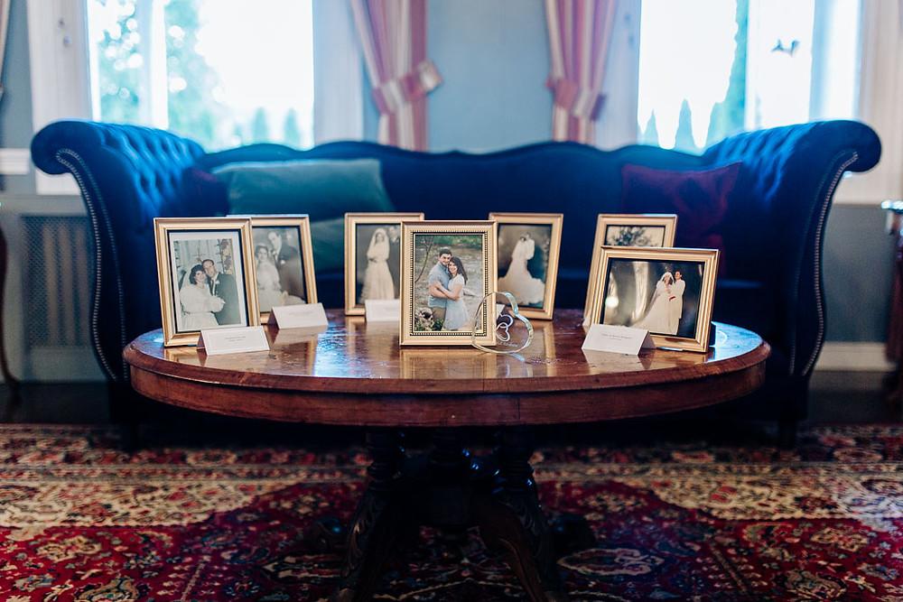 Family Wedding Portraits on reception table
