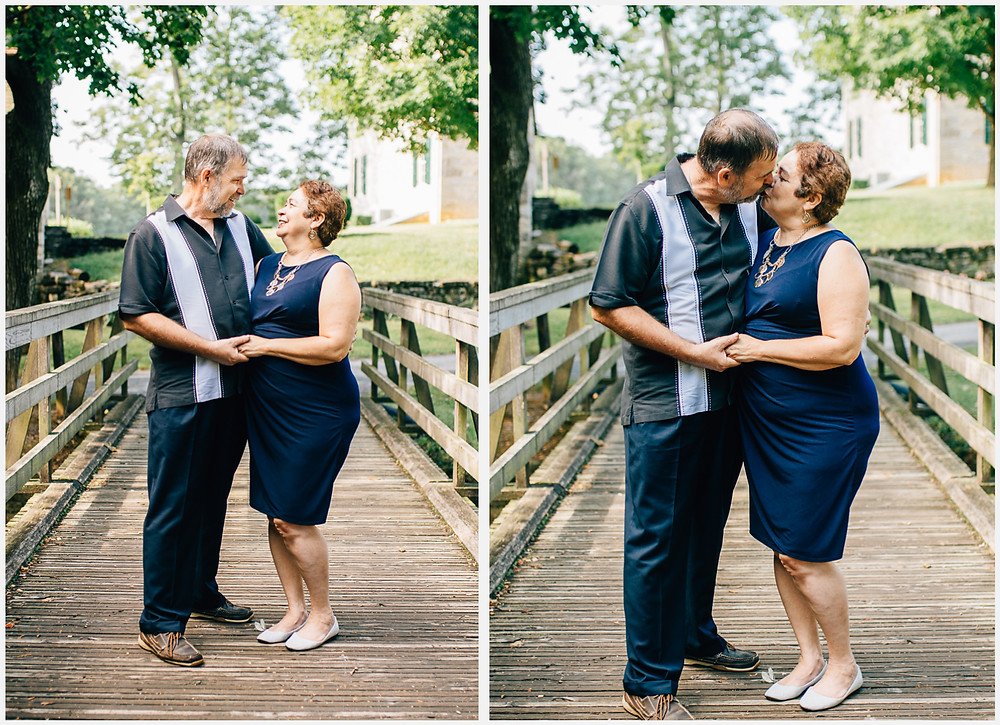 Renfrew Park - Green and Navy Summer couple's portrait - Waynesboro Photographer