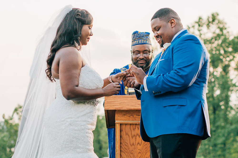 Oxon Hill Exchanging the Rings - Maryland Wedding Photography