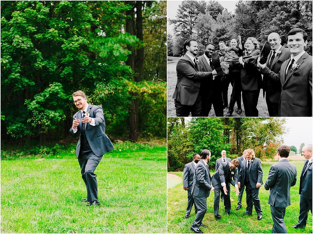 Groomsmen having fun at Rosewood Farms Wedding