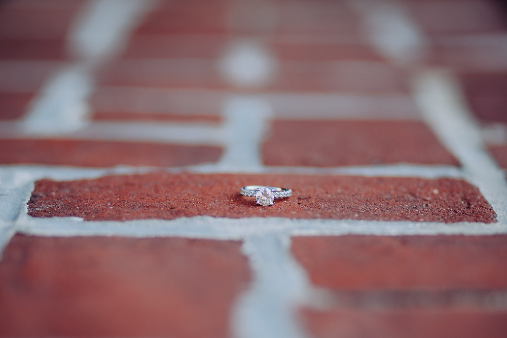 Engagement Ring on red bricks - Historic Downtown Annapolis