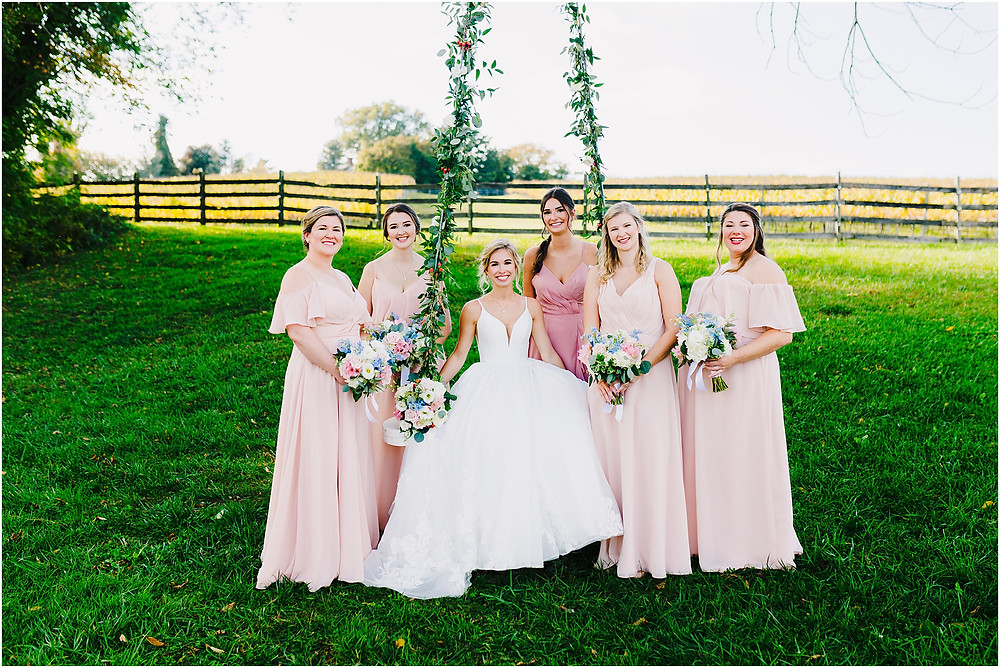 Bridesmaids on the swing at Bohemia Overlook Baltimore Wedding Photographer
