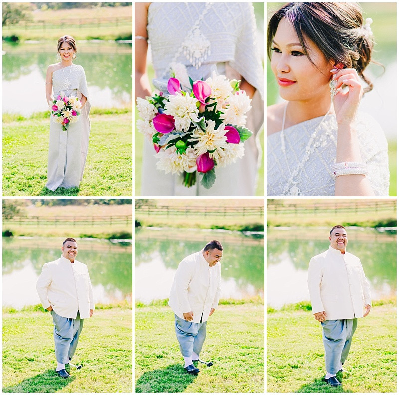 Traditional Thai Wedding at Sylvanside Farm - Bride and Groom in traditional Thai attire