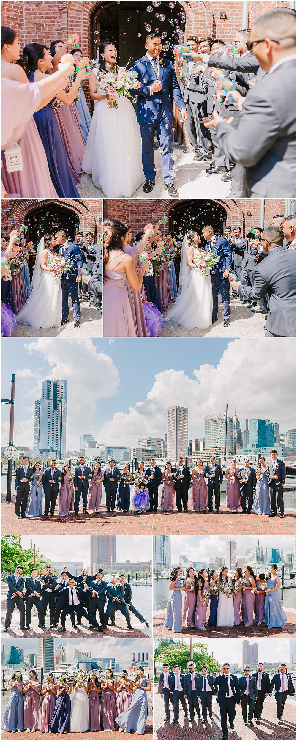 Downtown Baltimore Bridal Party Portraits - Baltimore Wedding Photographer
