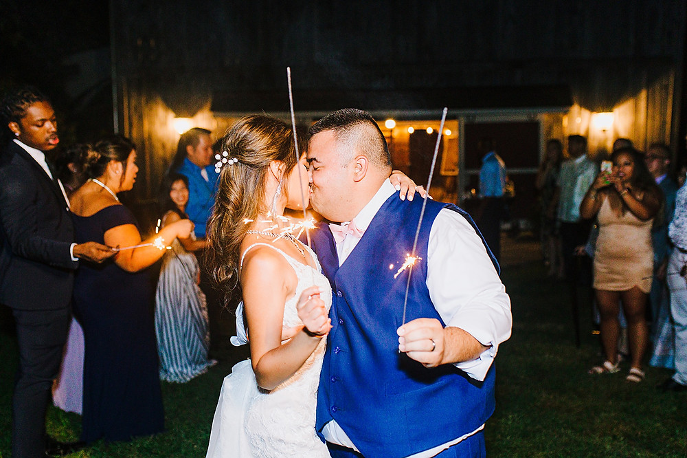 Kiss after sparkler exit, Sylvanside Farm Wedding