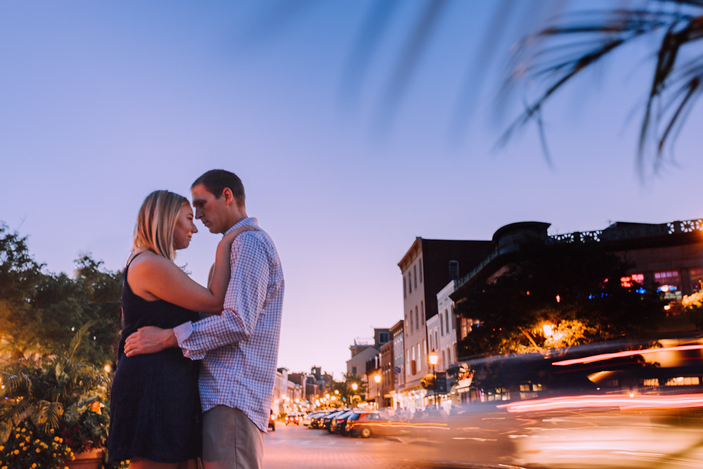 Night portraits Downtown Annapolis Engagement Session