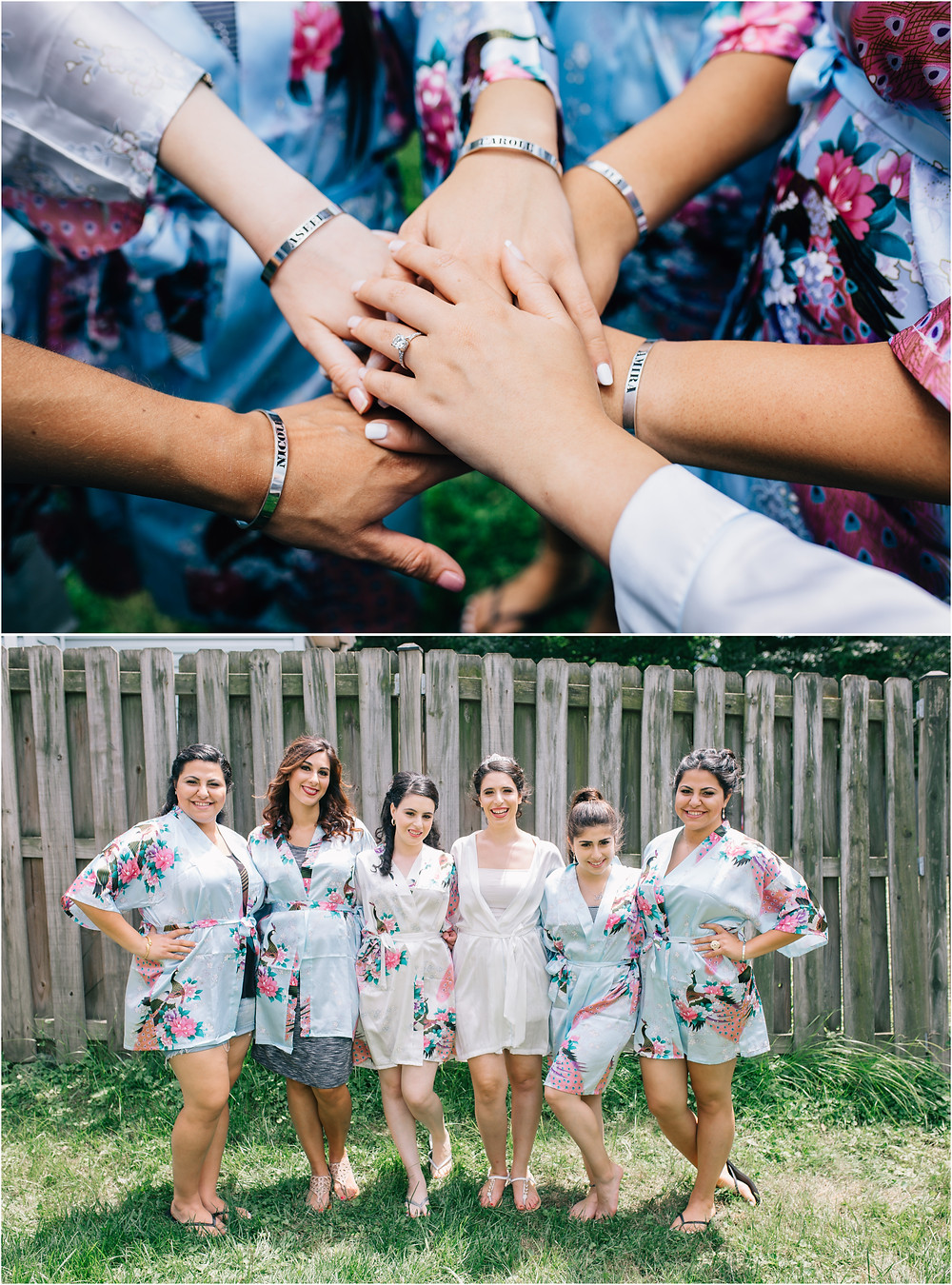 hands in and bridesmaid in robes