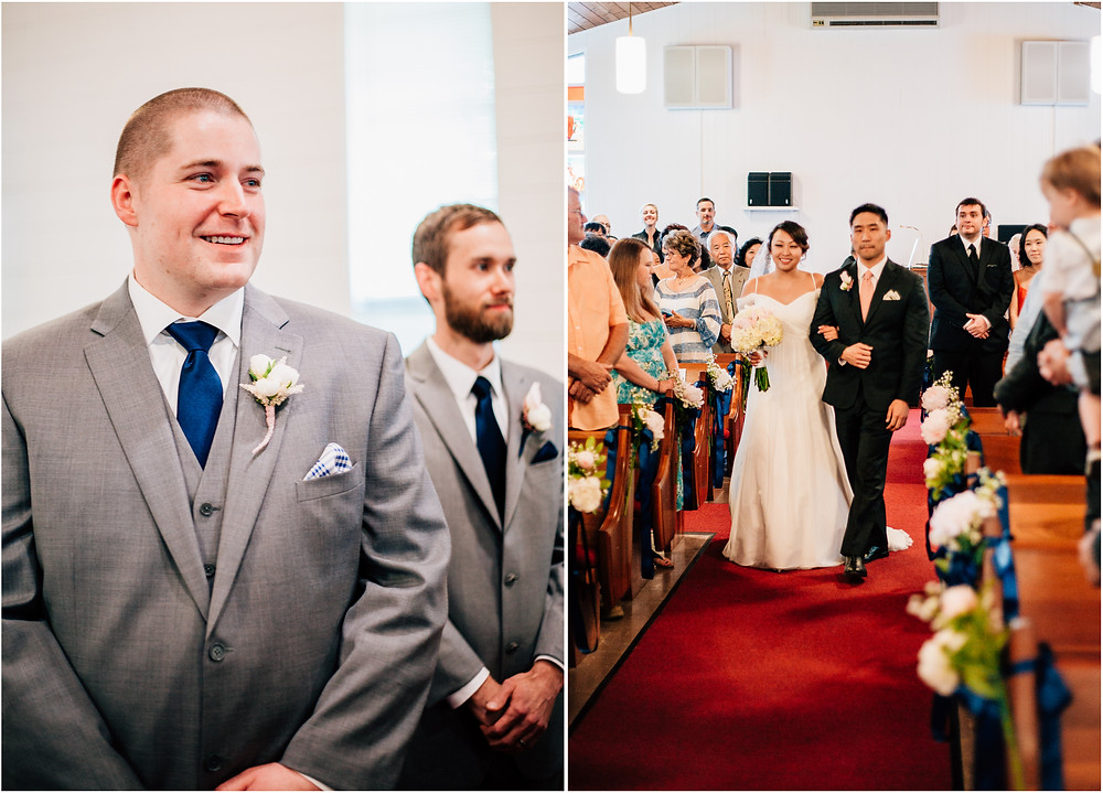 Casual Baltimore Wedding - Walking Down the Aisle - Baltimore Wedding Photographer