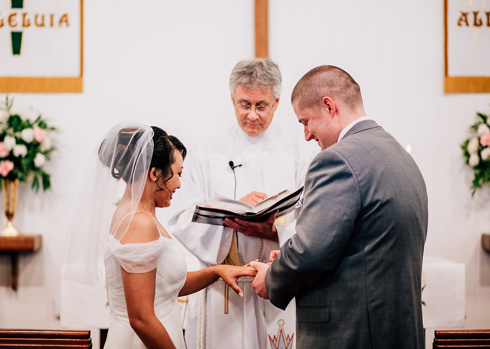 Baltimore Wedding - St. Matthew Lutheran Church Wedding - Exchanging the rings