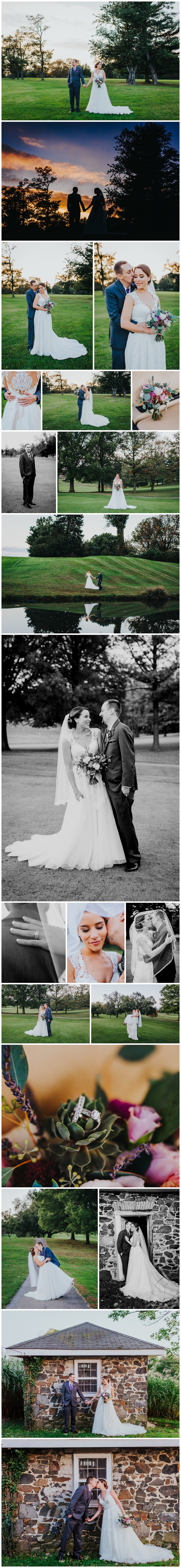 Sunset portraits with the bride and groom at Rolling Roads Golf Course, Baltimore Wedding Venue