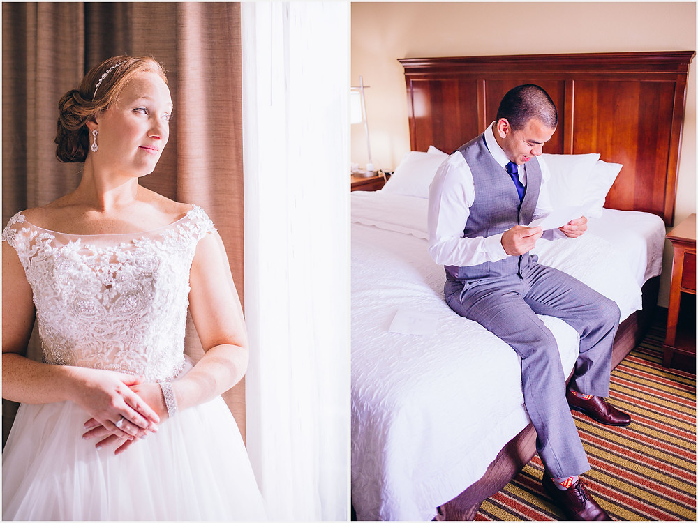 Groom reading letter from bride Frederick Maryland