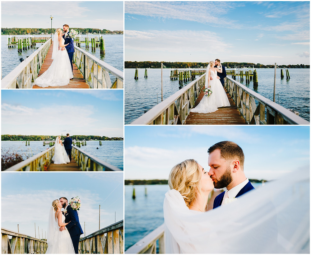 Sunset wedding portraits at Bohemia Overlook, Baltimore Wedding Photographer