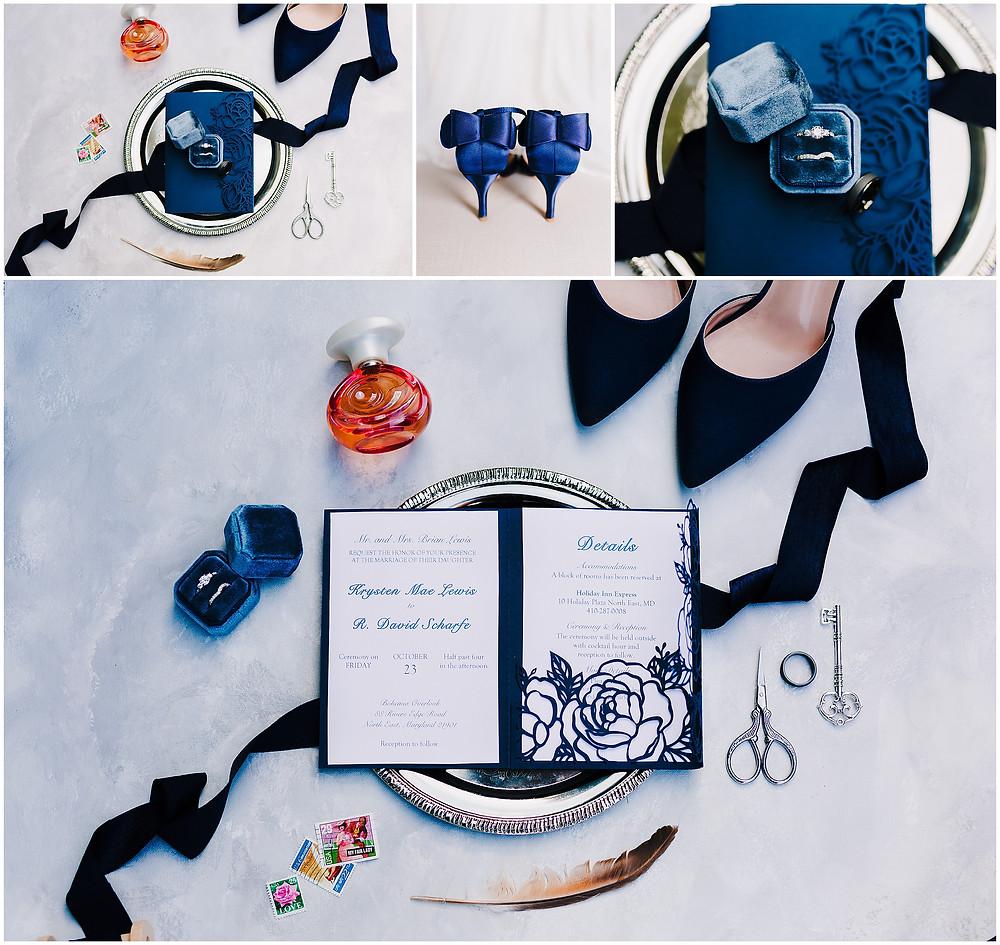 Blue Wedding Details Maryland Wedding Photography