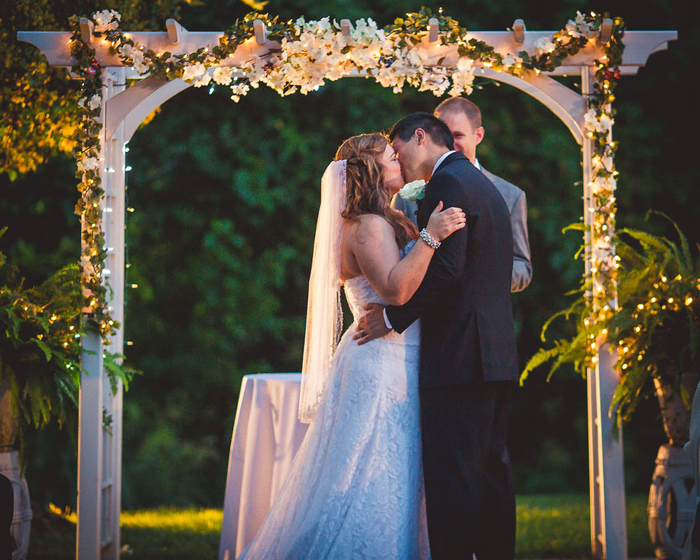 First Kiss Overhills Mansion Ceremony Maryland Wedding Photographer