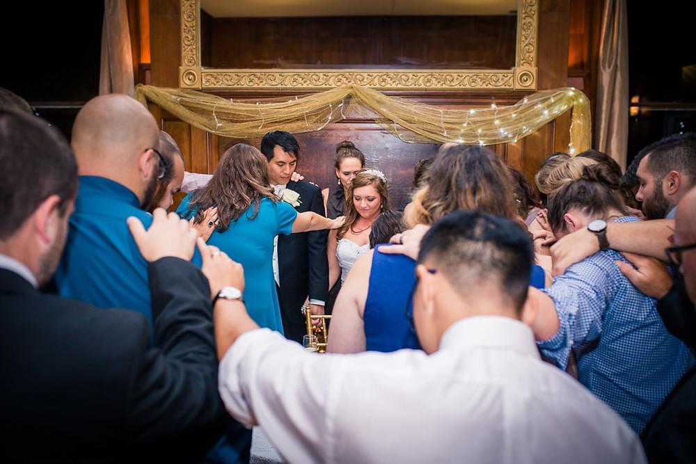 Group Prayer Overhills Mansion Reception Maryland Wedding Photographer