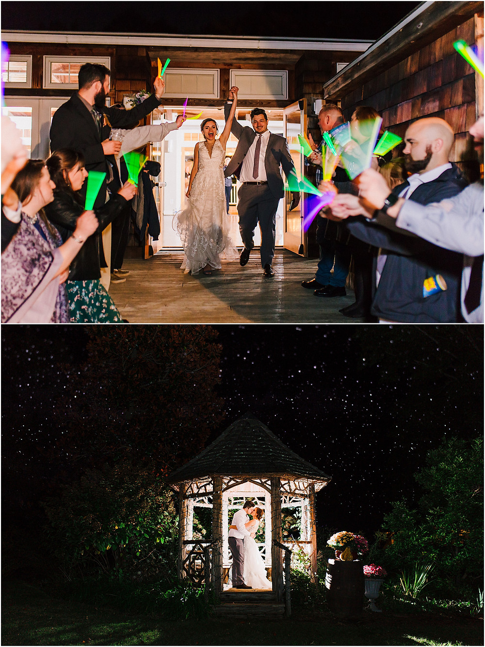 Glow Stick exit and night portrait at London Town and Gardens Annapolis Maryland Wedding Photography.