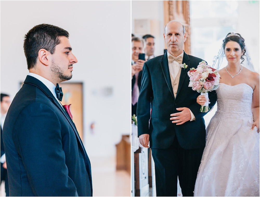 groom and bride's reaction seeing eachother