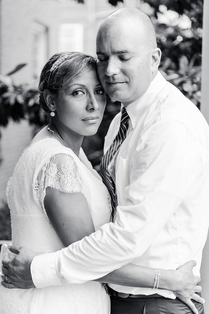 Romantic Black and White Portrait - Rainy Day Charles Town Courthouse Wedding - Maryland Wedding Photographer - Katherine Elizabeth Photography