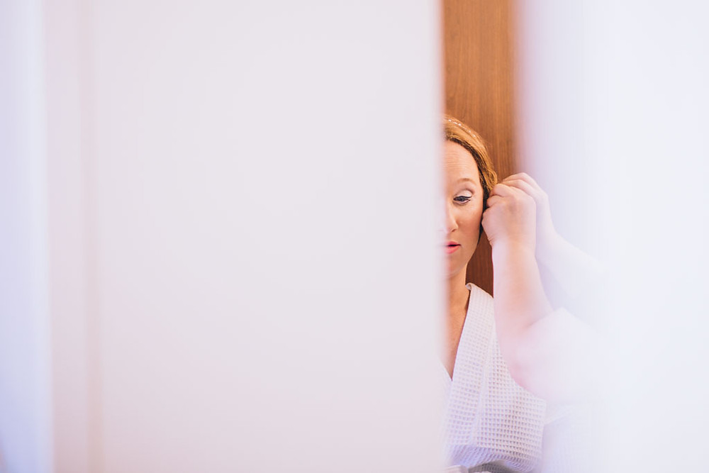 Bride getting ready for her wedding Frederick Maryland