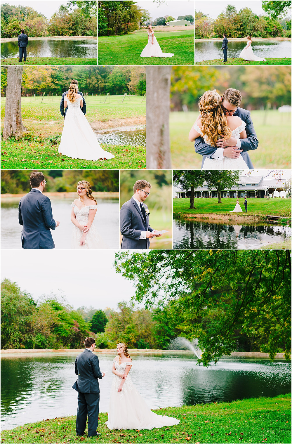 Fall first look at Rosewood Farms. Baltimore Wedding Photographer