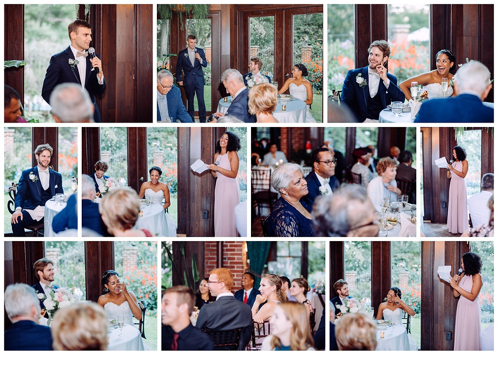 Best man and Maid of Honor speeches in the atrium at Gramercy Mansion. Baltimore Wedding Photography