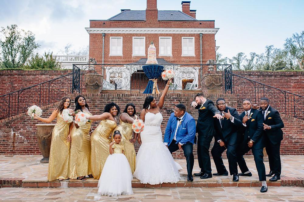 Fun Oxon Hill Manor Bridal Party Portrait - Gold Bridesmaid dresses