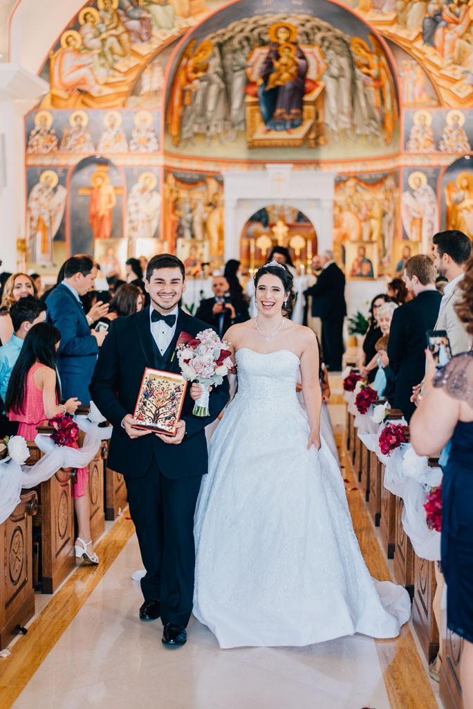 joy coming down the aisle greek orthodox wedding baltimore maryland