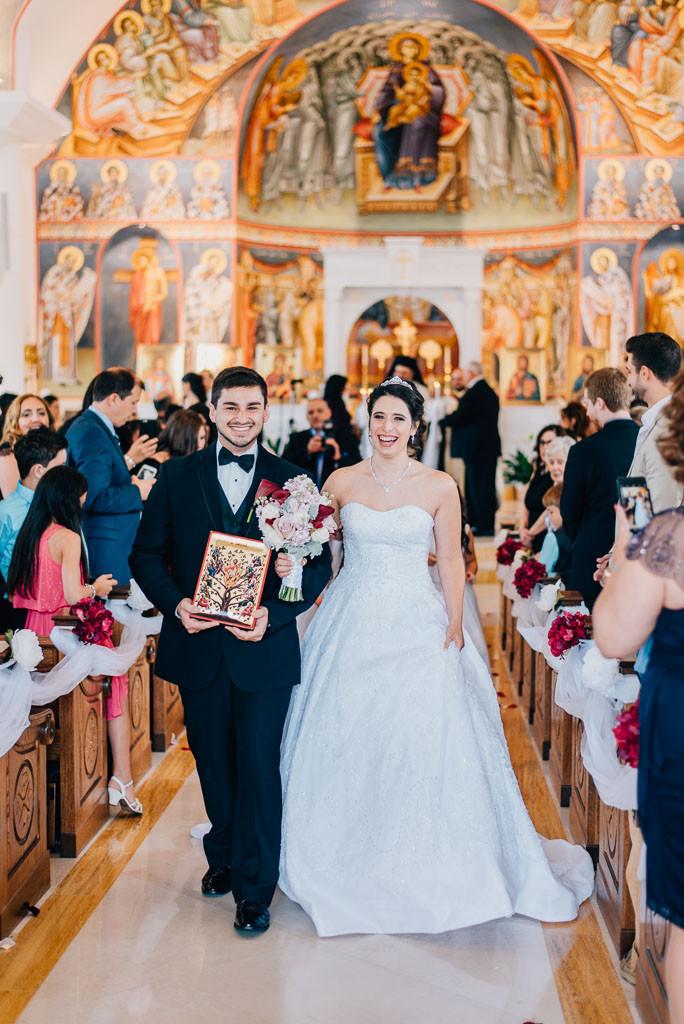 joy coming down the aisle greek orthodox wedding baltimore maryland