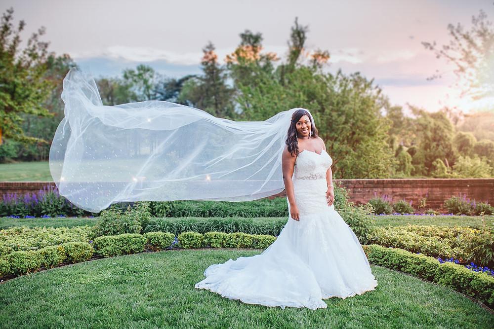 Stunning Bride and Flying Veil - Katherine Elizabeth Photography - Maryland Wedding Photographer