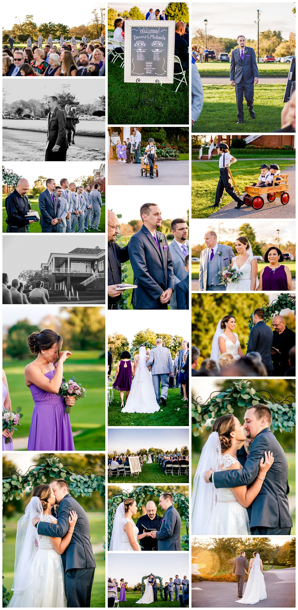 Sunset wedding ceremony at Rolling Roads Golf Course, Baltimore Maryland