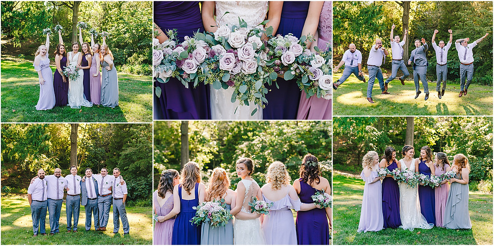 Purple and blue hues bridal party in the gardens at Historic London Town and Gardens