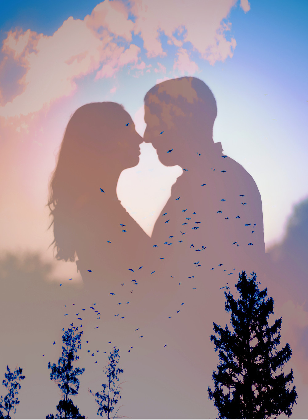 Double Exposure with couple silhoutte