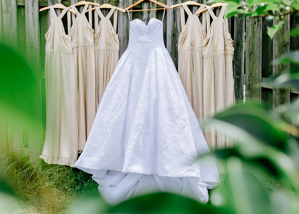 Wedding gown and gold bridesmaid dresses through leaves
