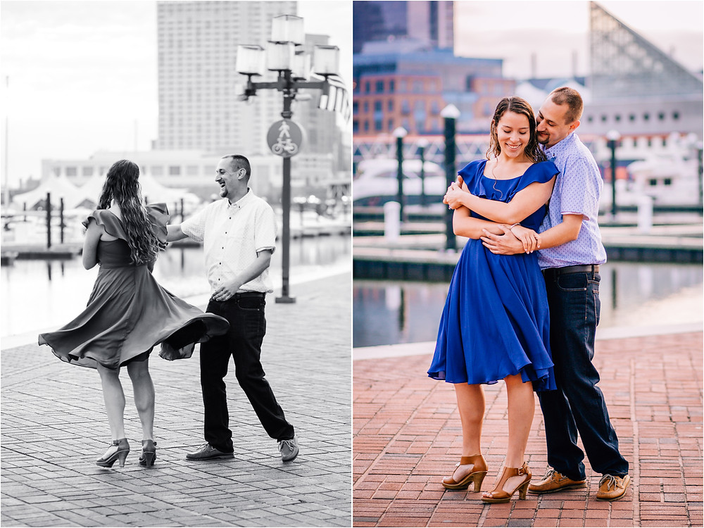 Dancing in the Inner Harbor Sunrise engagement portraits - Baltimore Maryland Wedding Photography