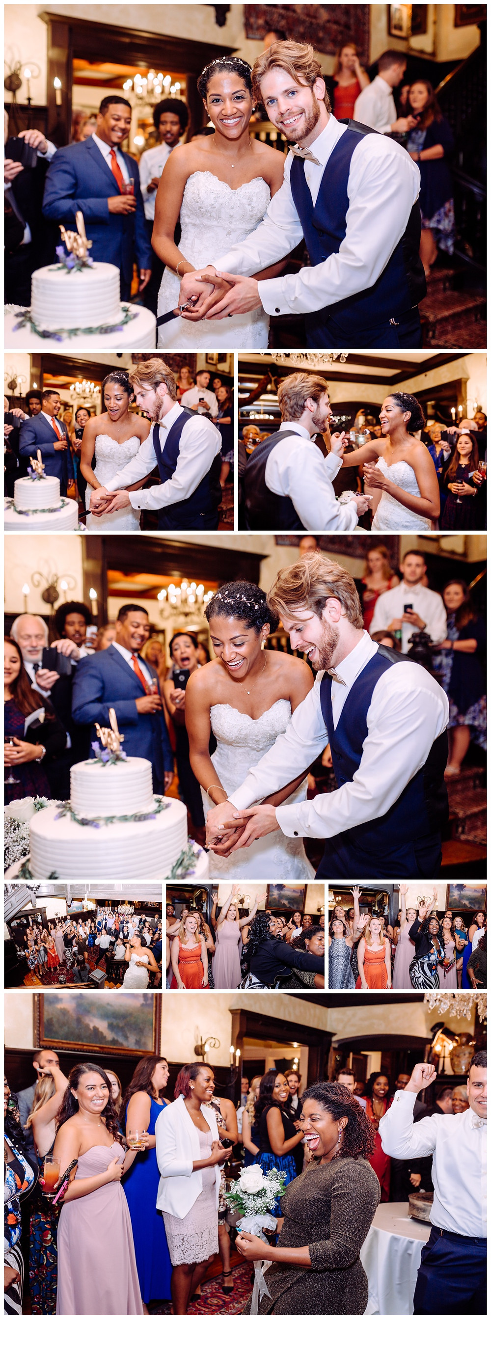 Bride and Groom cutting the cake captured by Katherine Elizabeth Photography