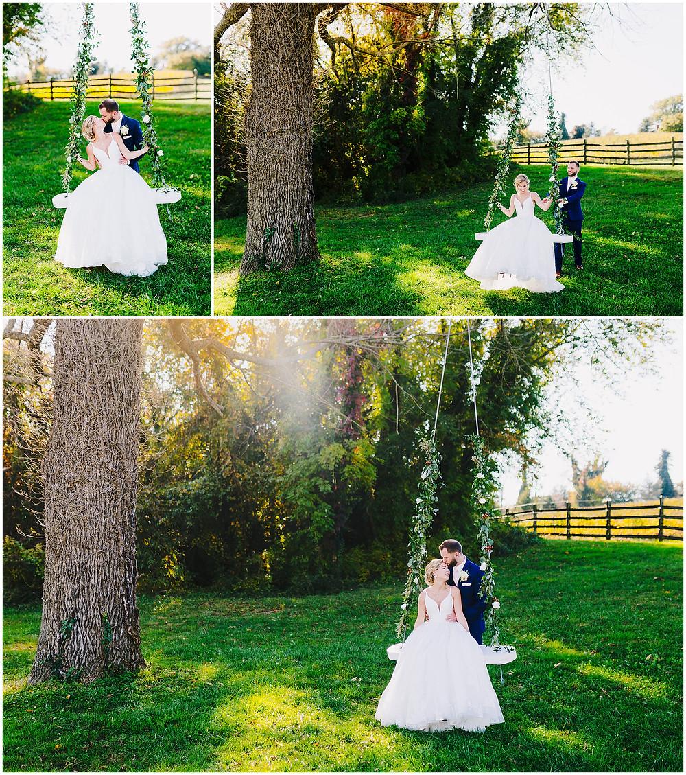 Bride and Groom on a wedding swing at Bohemia Overlook Maryland Wedding Photographer