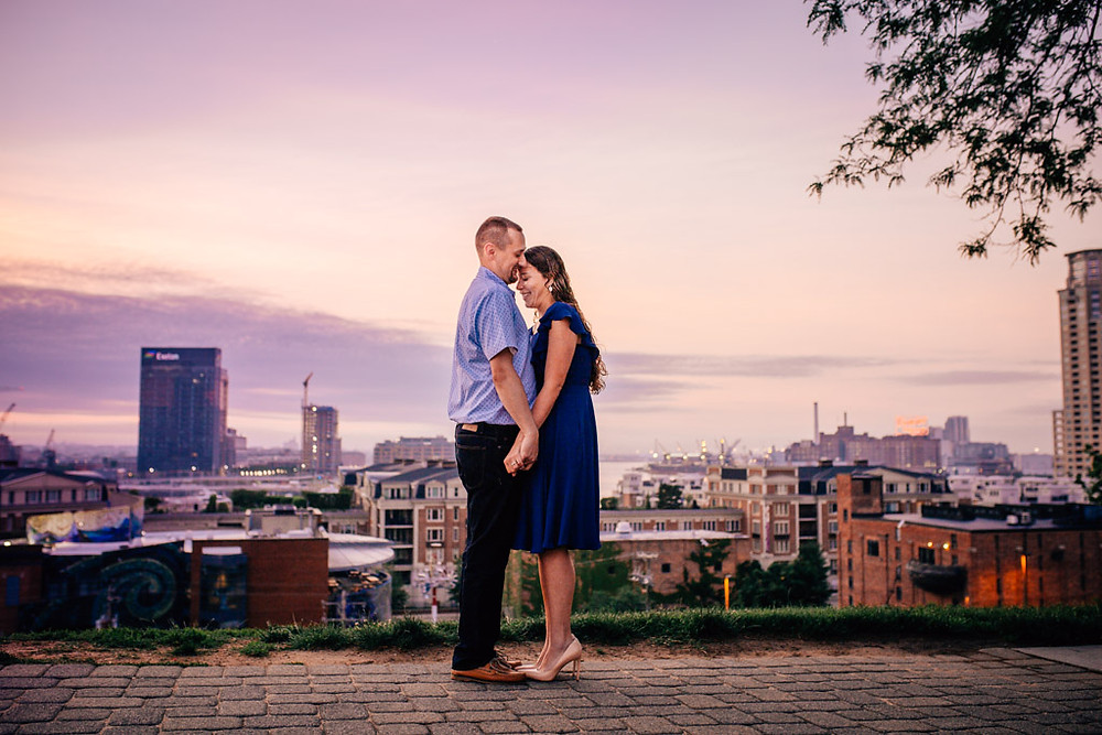 Purple sunrise Federal Hill engagement portraits - Baltimore Maryland Wedding Photography