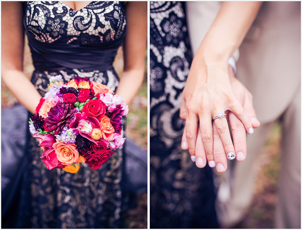 Edgy Baltimore Wedding Black Lace Gown Wedding Details