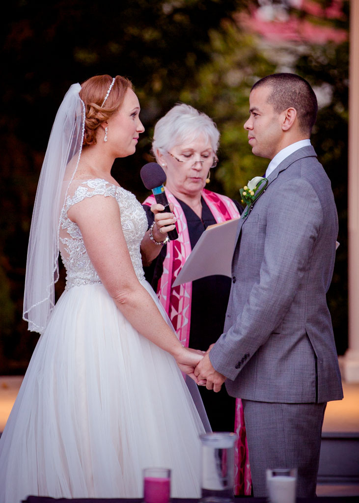Exchange of vows Ceresville Mansion Pergola Wedding Ceremony Frederick Maryland
