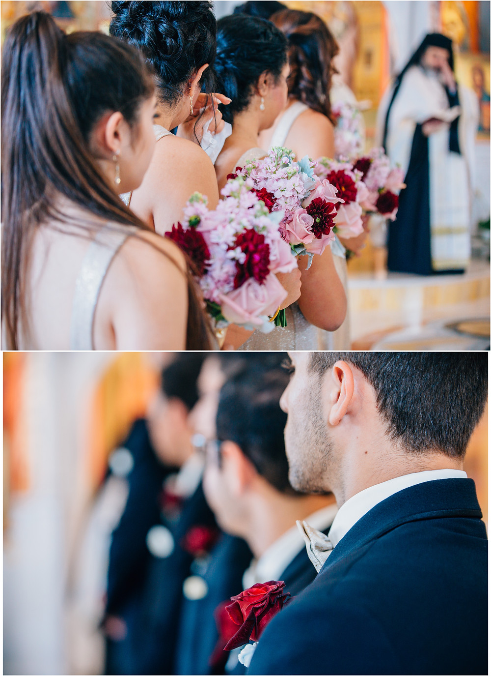 bridesmaids and groomsmen with burgundy, pink, and blue details