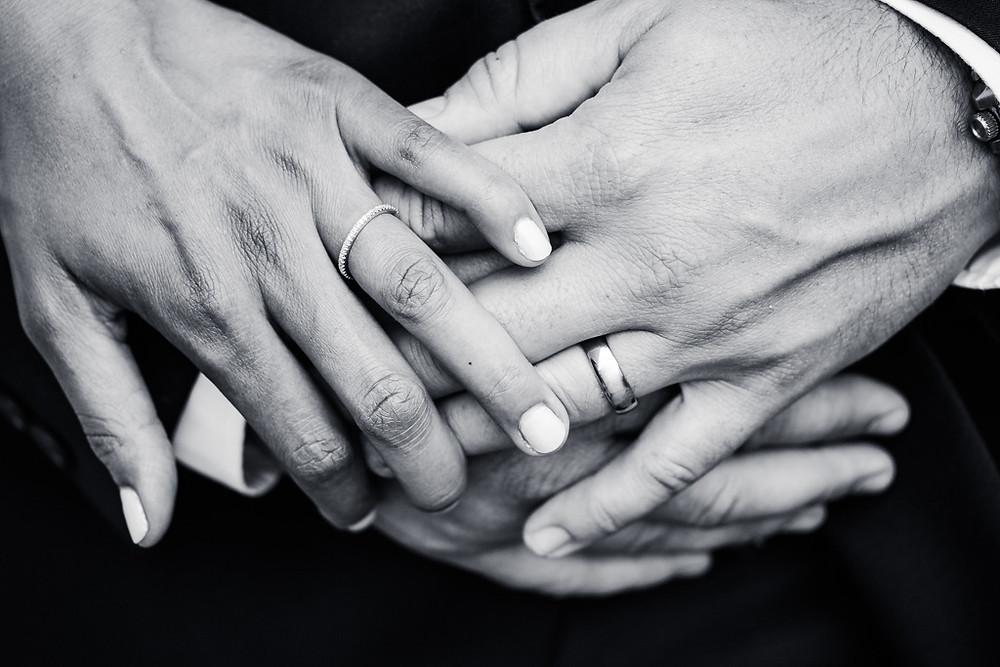 Black and White hands with Wedding Rings - Maryland Wedding Photographer - Katherine Elizabeth Photography